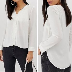 NWT ASOS white v-neck button down